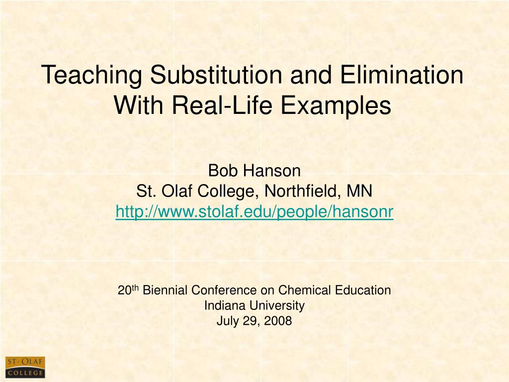 teaching substitution and elimination with real life examples l.