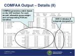comfaa output details ii