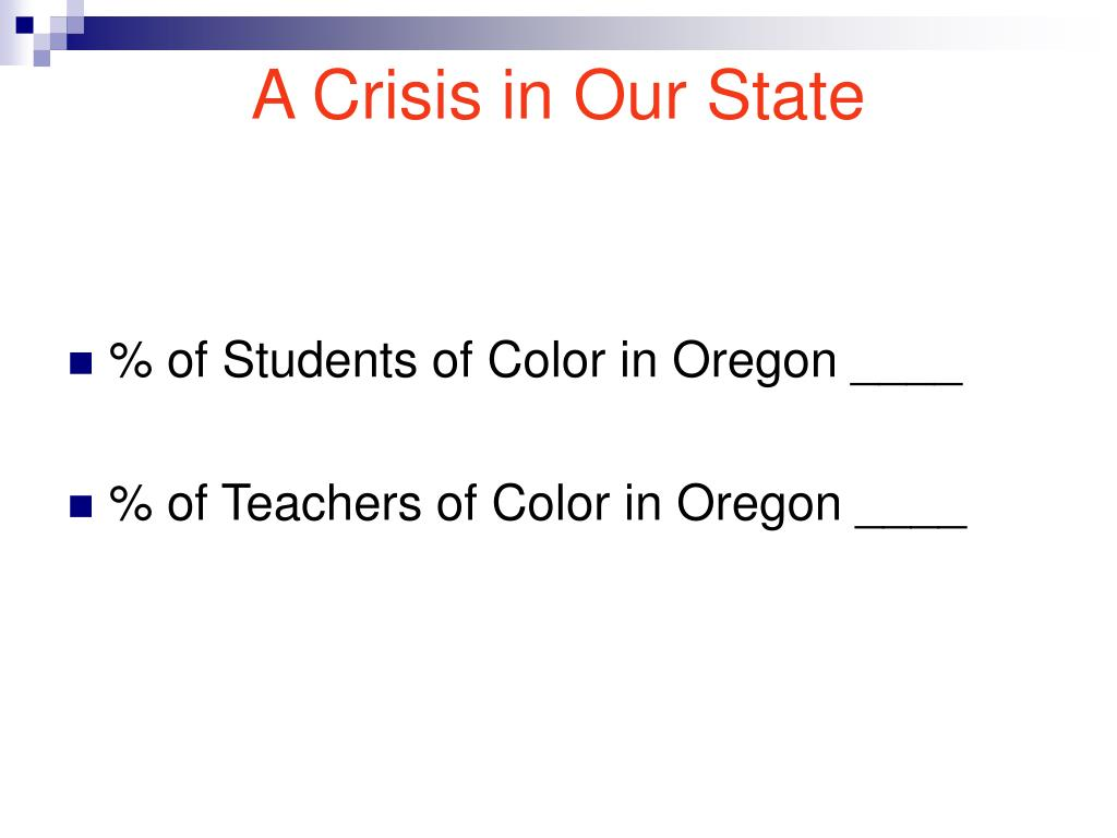 A Crisis in Our State