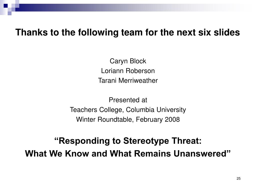 Thanks to the following team for the next six slides