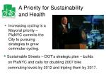 a priority for sustainability and health
