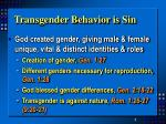 transgender behavior is sin