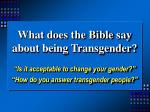 what does the bible say about being transgender