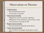 observations on theories
