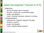 game development timeline 1 of 5