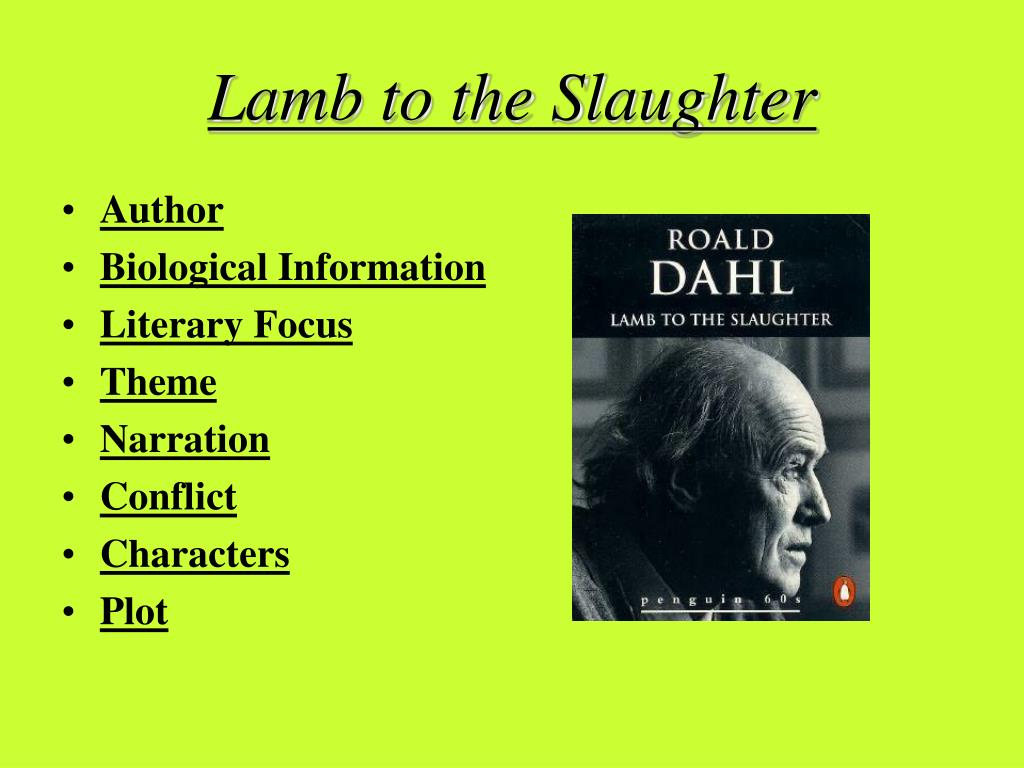 lamb to the slaughter irony Start studying lamb to the slaughter, irony, and figurative language learn vocabulary, terms, and more with flashcards, games, and other study tools.