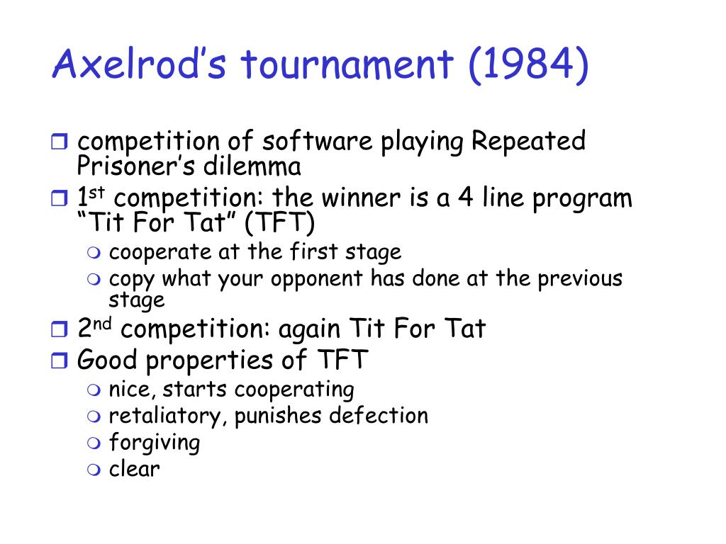 Axelrod's tournament (1984)