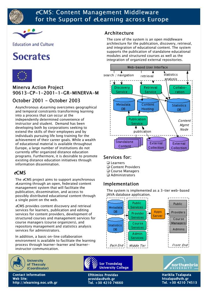 The core of the system is an open middleware architecture for the publication, discovery, retrieval,...