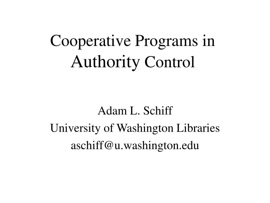 cooperative programs in authority control l.