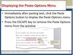 displaying the paste options menu