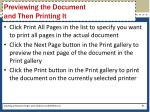 previewing the document and then printing it67