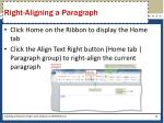 right aligning a paragraph