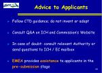 advice to applicants