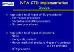 nta ctd implementation scope