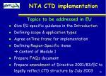 nta ctd implementation