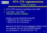 nta ctd implementation time frames