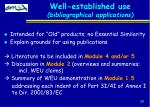 well established use bibliographical applications