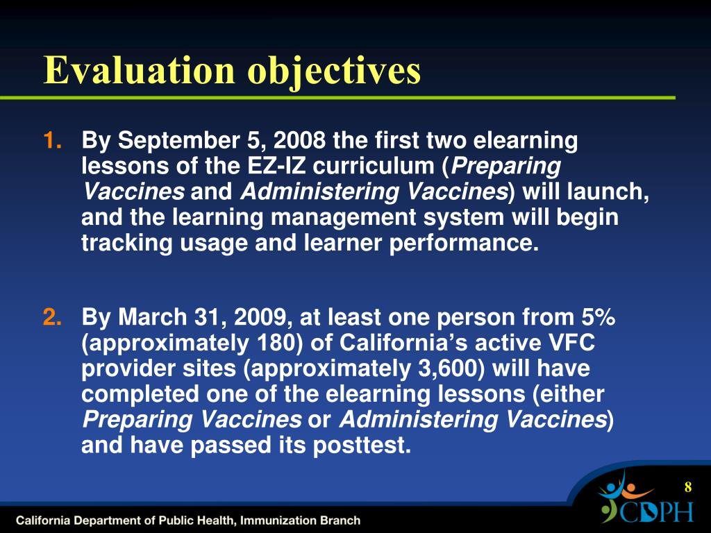 Evaluation objectives