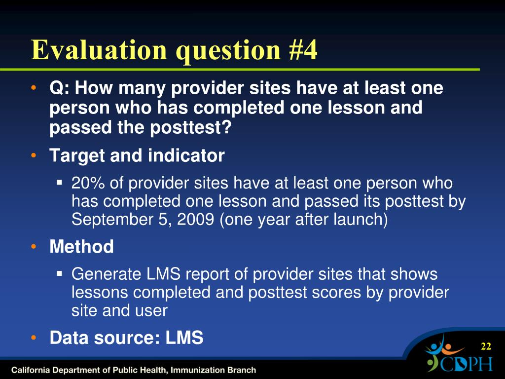 Evaluation question #4