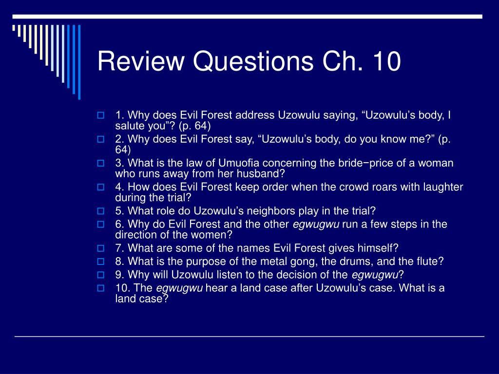 Review Questions Ch. 10