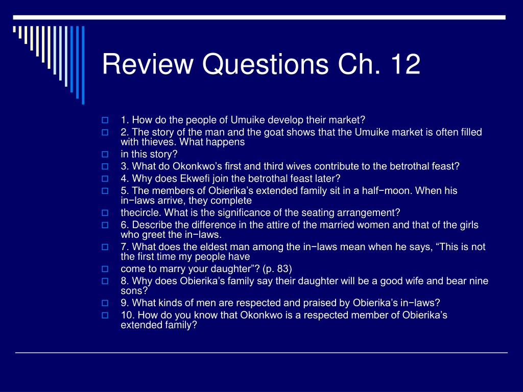 Review Questions Ch. 12