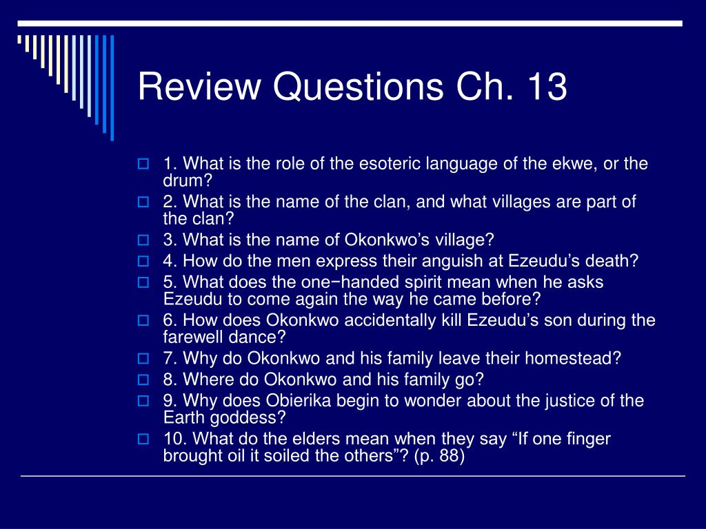 Review Questions Ch. 13