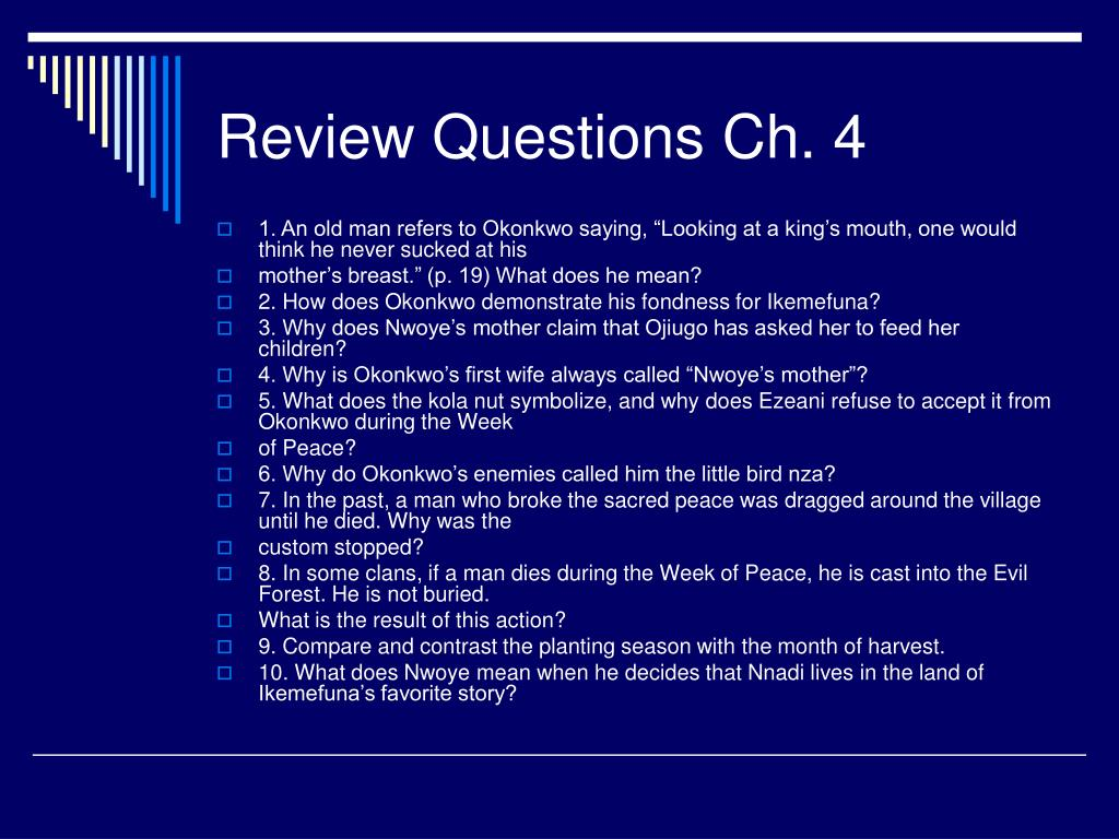 Review Questions Ch. 4