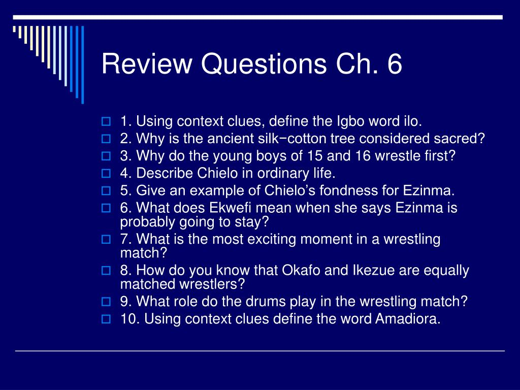 Review Questions Ch. 6