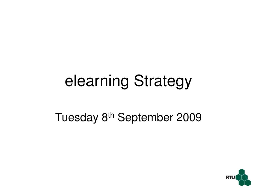 elearning strategy l.