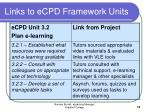 links to ecpd framework units