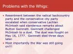 problems with the whigs
