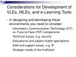 considerations for development of vles mles and e learning tools