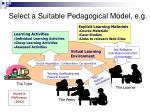 select a suitable pedagogical model e g