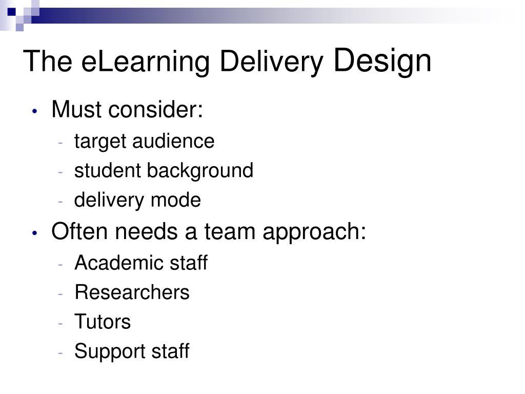 The eLearning Delivery
