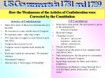 how the weaknesses of the articles of confederation were corrected by the constitution