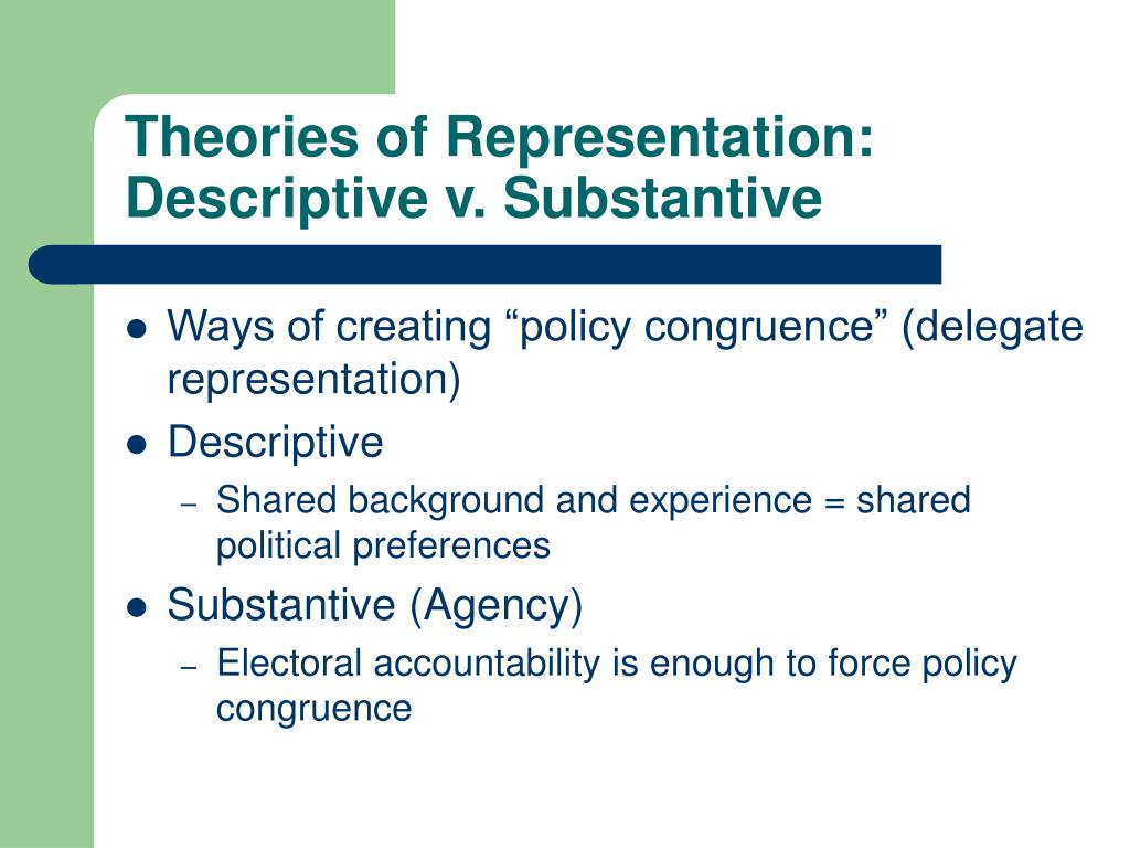 Theories of Representation: Descriptive v. Substantive