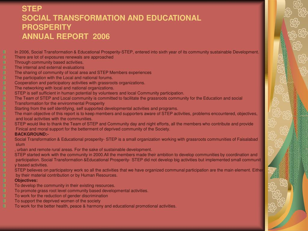 step social transformation and educational prosperity annual report 2006 l.