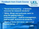 feedback from crash course