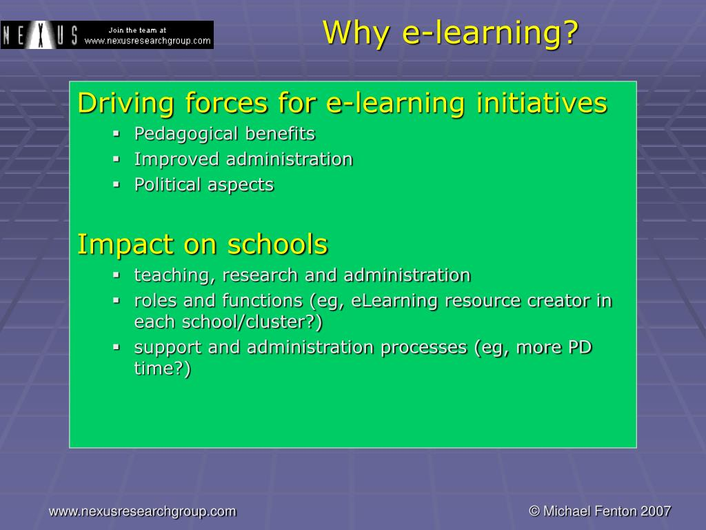 Why e-learning?