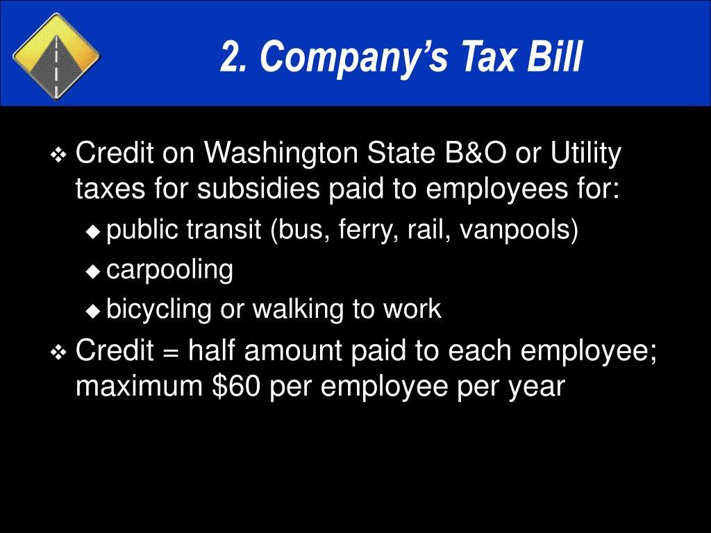 2. Company's Tax Bill