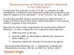 responsiveness of winning vendor s response to the solicitation