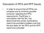 discussion of rfq and rfp issues