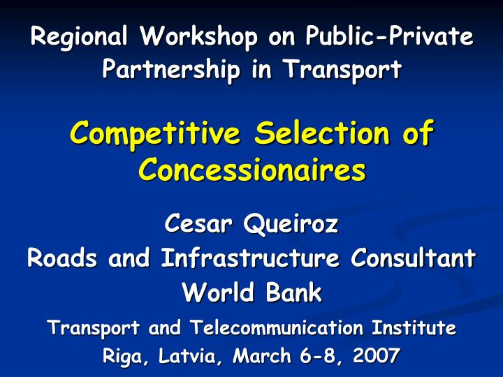 competitive selection of concessionaires n.