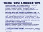 proposal format required forms