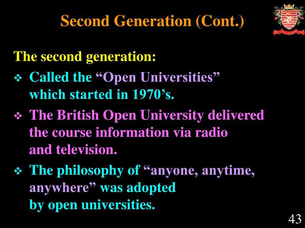 Second Generation (Cont.)