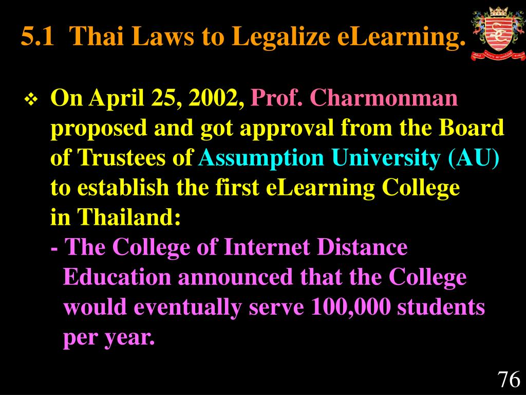 5.1  Thai Laws to Legalize eLearning.