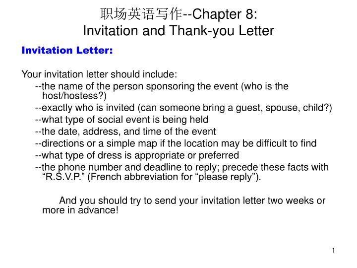 Ppt chapter 8 invitation and thank you letter powerpoint chapter 8invitation and thank you letter stopboris Image collections