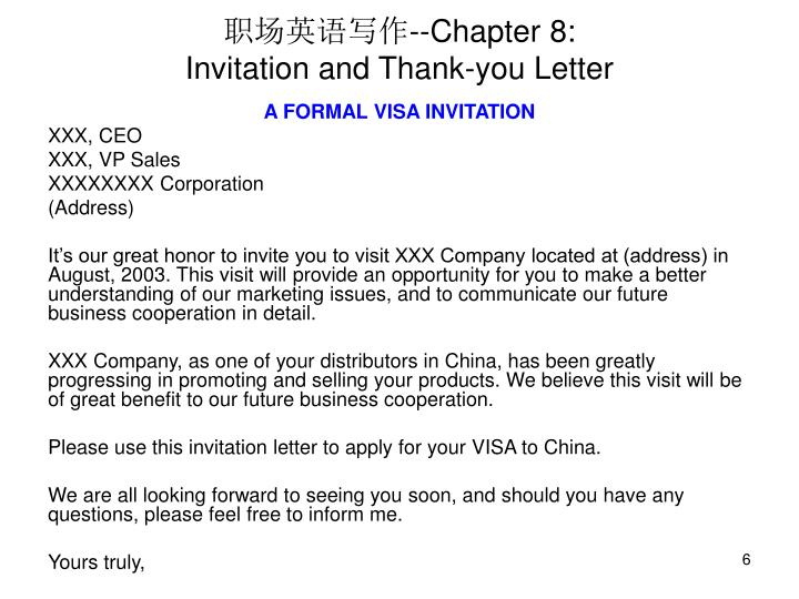 Thank you letter for visiting your company images letter format ppt chapter 8 invitation and thank you letter powerpoint chapter 8invitation and thank you letter expocarfo stopboris Image collections