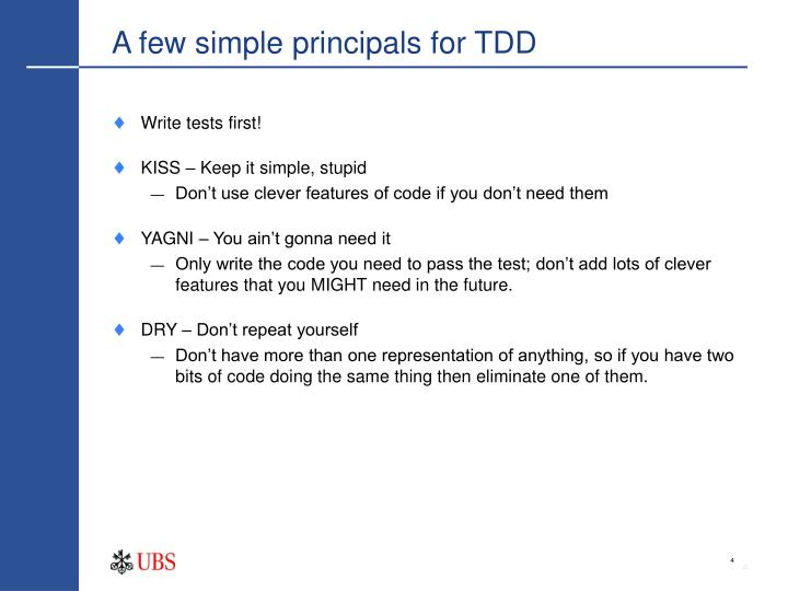 A few simple principals for TDD