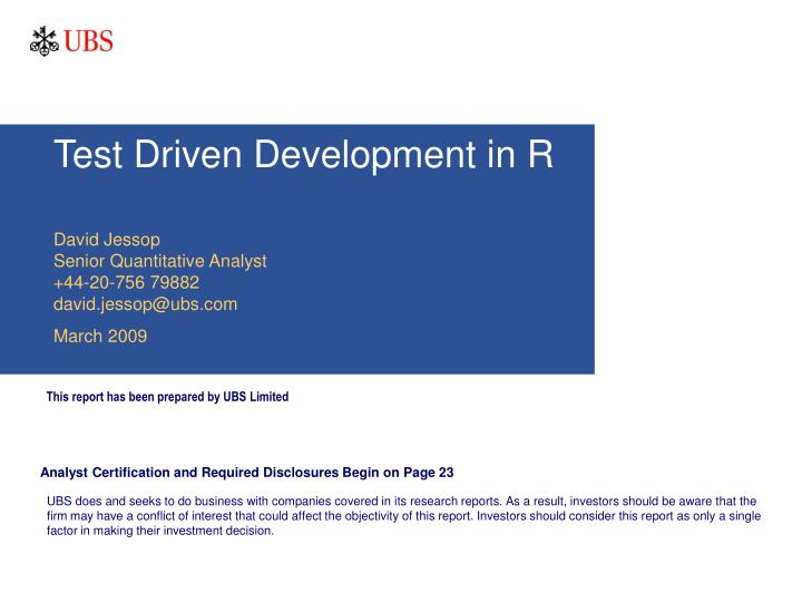 test driven development in r n.